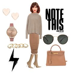 """""""Beige outfit"""" by umniyastyle on Polyvore featuring Balenciaga, Boohoo, Vince, GUESS, Ted Baker, Olivia Burton, Hermès and Ray-Ban"""