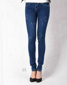 Hằng Jeans - Quần jeans xanh xước một màu xanh đậm 309. Giá: 289.000đ