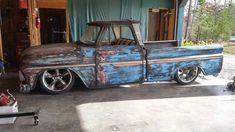 ratty jalopy daily driver 1964-66 Chevy C10 pickup truck on five spoke wheels