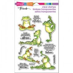 Stampendous - Clear Acrylic Stamps - Frog Yoga: Stretch out and get ready for your next stamping project with the Frog Yoga Clear Acrylic Stamps by Fran Seiford for Stampendous. Included in the set are 12 photopolymer stamps Yoga Friends, Perfectly Clear, Penny Black, Printable Paper, How To Do Yoga, Funny Design, Clear Stamps, Clear Acrylic, Card Making