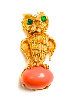 Lucky Owl Brooch by Kenneth Jay Lane, 1960s | From a unique collection of vintage brooches at https://www.1stdibs.com/jewelry/brooches/brooches/