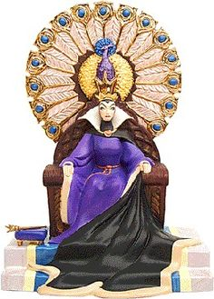 WDCC Disney Classics Snow White Evil Queen Enthroned Evil #WDCCDisneyClassics #Art.  Sceptor: Pewter. Throne: 18K shiny gold paint.  Walt Disney Collectors Society Members Only release-Villains Series for 2000.  Edition closed 08/15/00.
