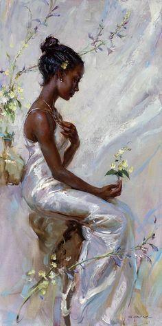 Blossom by Artist Daniel Gerhartz. Black Girl Art, Black Women Art, Black Art, Rennaissance Art, Tableaux Vivants, Renaissance Paintings, Classical Art, Old Art, Woman Painting
