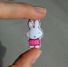 Rabbit miniature stuffed plush in pink polka dot by wishwithme, $5.00