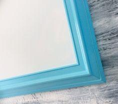 """FRAMED DRY ERASE For Sale Aqua Blue Framed Chalkboard Framed Magnetic Dry Erase Board Office Decor 41""""x29"""" Organizer Magnetic Board"""