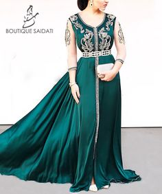 Moroccan Caftan, Caftan Dress, Hijab Outfit, High End Fashion, Dress Suits, Silk Satin, Dress Making, Dressing, Turquoise