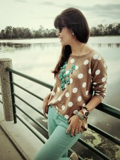 Brown & White Polka Dot Sweater With Mint Jeans