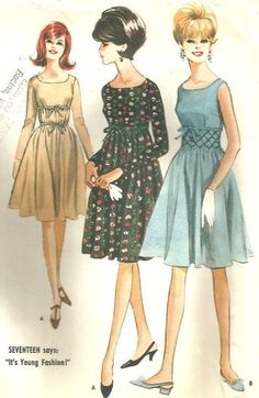 1960's Misses High Waisted Dress | Sew These Inspiring Vintage Sewing Patterns For An Ultimate Throwback