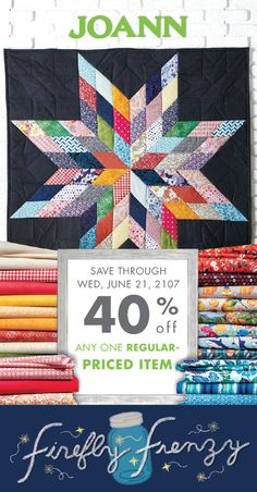 Talk about sweet summer savings! The Firefly Frenzy sale at Jo-Ann makes it easy to create a variety of DIY crafts all season long. Whether you need new patterned fabric to tackle that quilt project or are shopping for essentials to restock your craft room, this coupon for 40% off any one regular-priced item through Wednesday June 21st is here to help! Don't you just love it when you can save money on the supplies you're already shopping for?!