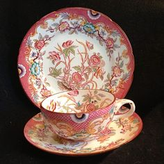 Minton Pink Hand Painted Sarreguemines Tea Cup Saucer And Dessert Plate Trio #sarreguemines