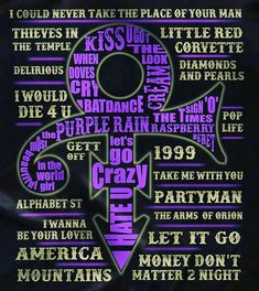 Just some of the many hits made famous by PRINCE! Prince Quotes, Prince Gifs, Prince Images, The Artist Prince, Prince Party, Prince Purple Rain, Paisley Park, Dearly Beloved, Roger Nelson