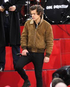 Harry Styles wears Saint Laurent Suede and Shearling Bomber Jacket on GMA | UpscaleHype