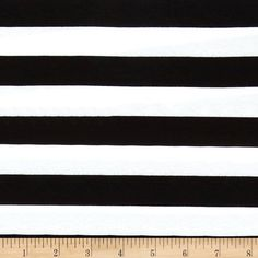 "Riley Blake Jersey Knit 1"" Stripes Black from @fabricdotcom  From Riley Blake Fabrics, this lightweight stretch cotton jersey knit fabric features a smooth hand and four way stretch for added comfort and ease. With 50% stretch across the grain and 25% vertical stretch, it is perfect for making t-shirts, leggings, loungewear, yoga pants and more! It features printed horizontal stripes."