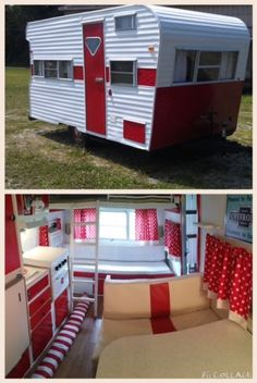 Red/white interior for Tepee camper   Red and white striped awning is pictured on the floor.  Teal accents will be added to decor