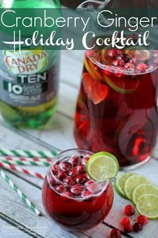 Cranberry Ginger Holiday Cocktail ... vodka, cranberry juice, ginger ale, lime slices & frozen cranberries