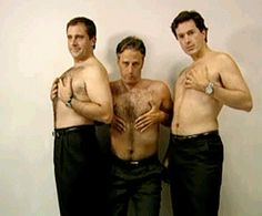 """Steve Carell, Jon Stewart and Stephen Colbert: How men would look if they had to pose in ads the way women are expected to."" This is surprisingly pretty accurate....perfect depiction! LOL!!!"