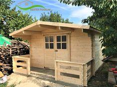 Kerti faház 16 m2 Boronafalas kerti faház, 28 mm-es falvastagsággal, elő-terasszal Shed, Outdoor Structures, Sheds, Tool Storage, Barn