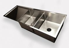 "1/2"" Radius 52"" Drainboard Double Bowl Sink with Low Divide - Reversible (5PD15.15.18 was R13DB15.5x2)"