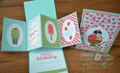 These are more examples of the Twisted Pop-Up card I showed last week (click here to see last week