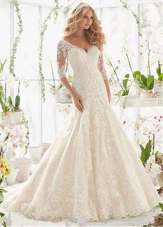 Elegant Tulle V-neck Neckline A-line Wedding Dresses with Lace Appliques