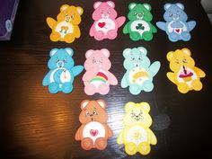 care bear punch art I made using su punches and Martha stewart punches for my granddaughter.  She wanted to put peachy keen full faces on the bottom 2.