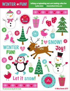 We Love to Illustrate: *FREE* Printable Holiday Scrapbooking elements