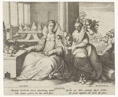 Pieter de Jode (I) | Smaak, Pieter de Jode (I), Cornelis Kiliaan, Gerard de Jode, 1590 - 1632 | Landschap met de vrouwelijke personificatie van de Smaak. Ze heeft in beide handen een appel. Naast haar staat een tafel met een schaal met fruit. Ze wordt vergezeld door een aap en een vrouw met een hoorn des overvloeds. Op de achtergrond in een loggia zitten diverse figuren aan een tafel. In de marge, in twee kolommen, een onderschrift in het Latijn. Prent uit een serie van vijf met de vijf…