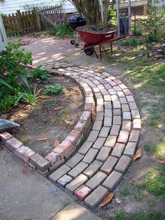 brick path for veggie beds