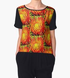 Woman's Chiffon top with Southwest Cactus Flower design by Judi Saunders.