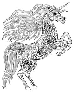 Hand drawn magic Unicorn for adult anti stress Coloring Page wit - Ilustración de stock: 82263360