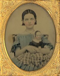 """1857 Ambrotype of """"Girl Holding Her Izannah Walker Doll"""" by Mirror Image Gallery,"""