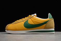 "2020 Nike Cortez Nylon ""Oregon"" Yellow/Gorge Green 876873-700 Nike Classic Cortez, University Of Oregon, Nike Cortez, Running Shoes, Sneakers Nike, Yellow, Green, Leather, Nike Tennis"