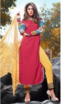 Crimson Color Cotton Straight Cut Style Pakistani Stitched Formal Dresses #casual, #salwar, #kameez, #online, #trendy, #shopping, #latest, #collections, #summer,#shalwar, #hot, #season, #suits, #cheap, #indian, #womens, #dress, #design, #fashion, #boutique, #heenastyle, #clothing, #cotton, #printed, #materials, @heenastyle
