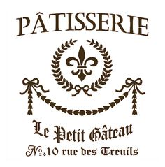 french stencil | French Vintage Style Wall Stencil 'Patisserie Le Petit Gateau ...