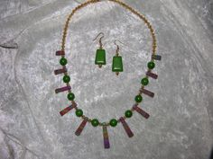 Multicolor turquoise necklace and earring set.  For sale at http://www.etsy.com/shop/gladdenrun.