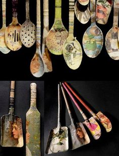 decoupage wooden spoons, spatulas and bottles! Painted Spoons, Wooden Spoons, Diy And Crafts, Arts And Crafts, Paper Crafts, Fork Crafts, Handmade Crafts, Craft Projects, Projects To Try