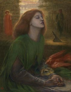 """Beata Beatrix"" by Dante Gabriel Rossetti. 1864–70 oil on canvas. From the collection of Tate Galleries (London). On loan to the National Gallery of Art, Washington, DC, as part of the Pre-Raphaelite Brotherhood Exhibition (2013)."