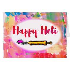 Modern Playful Script Colorful Pichkari Happy Holi Card #Happy #Holi #greeting #Card