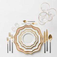 Anna Weatherley Chargers in Desert Rose + AW Dinnerware + NEW Axel Flatware in two-toned 24k Gold/Brushed Silver finish + Gold Rimmed Stemware + Antique Crystal Salt Cellars | Casa de Perrin Design Presentation