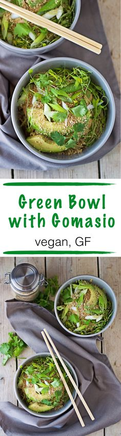Green and clean! I discovered #Gomasio as a new exciting way to spice up my recipes. This is a minimalistic #vegan and #glutenfree Green Bowl with the freshness of avocado and scallions and a hearty #tahini sauce.