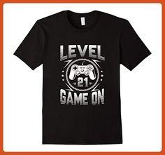 Mens Funny Level 21 Game On | Gift For Birthday T-Shirt 3XL Black - Birthday shirts (*Partner-Link)