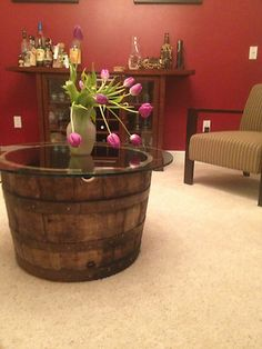 """Vintage Half Whiskey Barrel Coffee Table-End Table c/30"""" Glass Table Top on eBay!"""