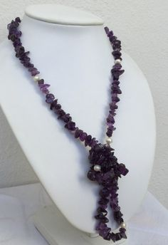 Amethyst necklace February birthstone with freshwater pearls by CarlaDiVolpe on Etsy