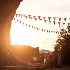 Sunset and bunting at Emily & Bernard's brilliant 3 day wedding at Castelnau des Fieumarcon by Firehorse Photography Wedding Events, Wedding Day, Weddings, British Wedding, Medieval Wedding, Best Wedding Photographers, Golden Hour, Bunting, Wedding Pictures