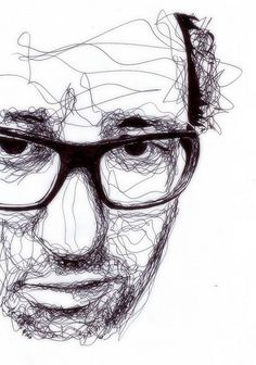 Kris Trappeniers continuous line.  Experiment by drawing over a portrait on a transparency.