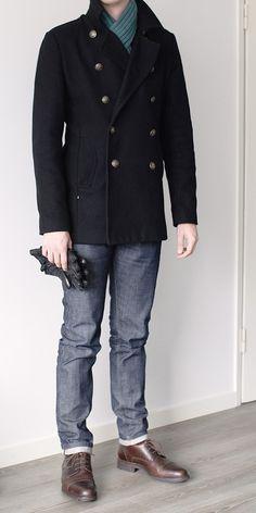 Love it! | Bexley Enfield, APC Petit New Standard, DrDenim peacoat, handmade scarf, leather gloves