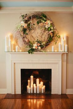 Wedding from Kristyn Hogan + Cedarwood Weddings Gorgeous Ceremony Backdrop: Fireplace decorated with romantic candles and a beautiful wreath.Gorgeous Ceremony Backdrop: Fireplace decorated with romantic candles and a beautiful wreath. Romantic Candles, Romantic Home Decor, Candles In Fireplace, Romantic Homes, Chic Decor, Christmas Fireplace, Fireplace Decor, Shabby Chic Furniture, Fireplace