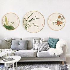 Chinese ink painting flowers, Chinese style prints, Plum blossom, Peach blossom, Chrysanthemum, Chin Ink Painting, Painting Flowers, Round Canvas, Canvas Canvas, Art Decor, Decor Ideas, Craft Ideas, Home Decor, Frames