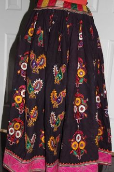 Beautiful Original Vintage Rabari Ghagra{Skirt} with Kutchi hand embroidery accentuated with mirror work in black and eggplant colour by EleganceByRajul on Etsy