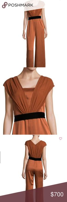 "NWT! Max Mara Belted Jumpsuit Gathered cap-sleeve jumpsuit featuring a wide-leg Color: Rust Deep V-neck Cap sleeves Concealed back zip Belted waist Pull-on style Silk lining Rise, about 12"" Inseam, about 37"" Leg opening, 29"" Acetate/viscose Dry clean only Made in Italy MaxMara Pants Jumpsuits & Rompers"